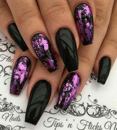 Purple Chrome Nails, Black And Purple Nails, Metallic Nails, Black Nails, Foil Nail Designs, Chrome Nails Designs, Cute Nail Designs, Sexy Nails, Cute Nails