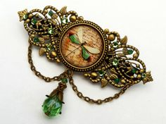 Large dragonfly barrette in green bronze antique style