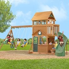 Kids Outdoor Play Equipment: All-in-One Swing Sets & Cubby Houses Backyard Playset, Big Backyard, Backyard Playground, Backyard Toys, Playground Ideas, Kids Outdoor Play Equipment, Commercial Playground Equipment, Wood Swing Sets, Backyard Movie Theaters