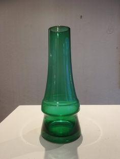 Green Finnish Riihimäki glass Piipu chimney vase