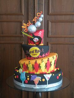 "Hard Rock Cafe guitar cake that says Rocks"" Music Themed Cakes, Music Cakes, Unique Cakes, Creative Cakes, Fancy Cakes, Cute Cakes, Beautiful Cakes, Amazing Cakes, Hard Rock"