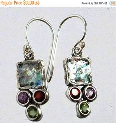 Summer Sale Roman Glass Earrings Sterling Silver by Bluenoemi