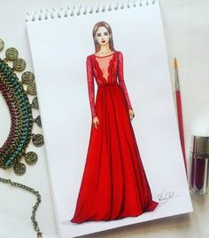 212 Likes, 13 Comments - Dipti Patel Dress Design Drawing, Dress Design Sketches, Fashion Design Sketchbook, Fashion Design Drawings, Fashion Illustration Tutorial, Illustration Mode, Fashion Drawing Dresses, Fashion Illustration Dresses, Fashion Model Sketch