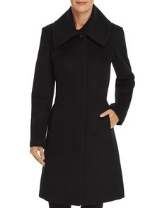 Black Wool, Travel Style, Cole Haan, Coats For Women, Line, High Neck Dress, Dresses For Work, Stylish, Envelope