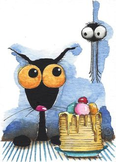 ACEO Original watercolor painting whimsical black Stressie cat spider pancakes #IllustrationArt