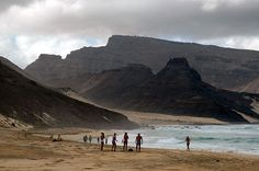 The beach of Calhau, with Monte Verde in the background, on the island ofSão Vicente