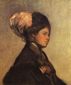 Joseph DeCamp (American artist, 1858-1923) Pink Feather Brown Veil 1908