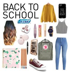 """""""Back to school"""" by justagirlhavingfun on Polyvore featuring WithChic, Converse, Fjällräven, Casetify, PhunkeeTree, DKNY, Maybelline, Dolce&Gabbana, ban.do and Charlotte Russe"""