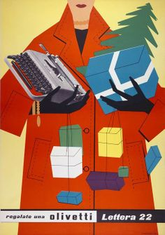 1953 holiday poster by Italian designer, Egidio Bonfante (1922-2004) for the Lettera22 typewriter by Olivetti.
