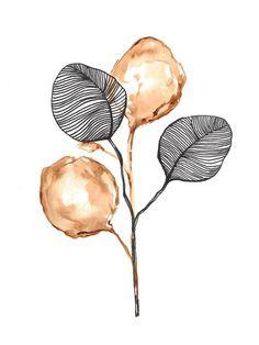 Plant Watercolor and sharpie on paper Watercolor And Sharpie, Watercolor Plants, Watercolor Paintings, Motifs Art Nouveau, Doodle Art, Flower Art, Line Art, Art Drawings, Art Projects