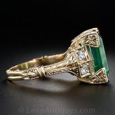 6.26 Carat Emerald and Diamond Ring in 18 Karat Yellow Gold - 30-1-4977 - Lang Antiques