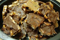 Salted Caramel Chocolate Pretzel Bark Ingredients:  ½  bag of mini pretzel twists  2 sticks of butter (1 cup total)  1 cup of brown sugar  1 bag of chocolate chips (2 cups)  Sea salt or table salt  Directions:  Preheat your oven to 350 degrees.  Then line a large jelly roll pan with aluminum foil and lay a single layer of pretzels down. I was pretty meticulous about this and made neat l