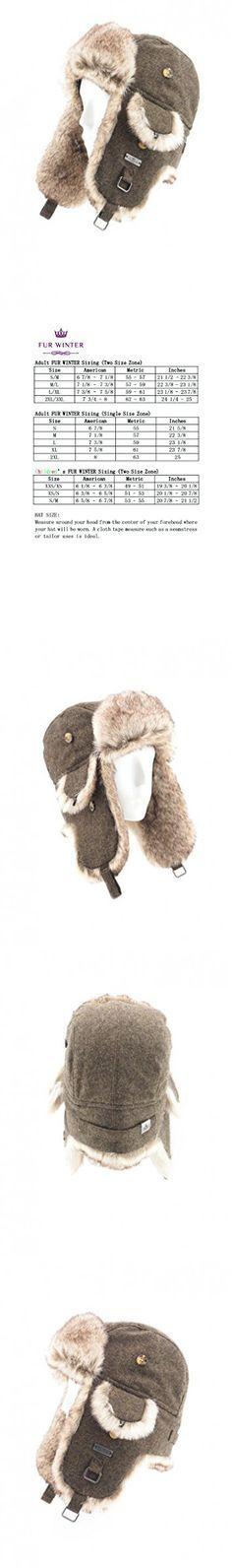 FUR WINTER Wool Blend Tweed Faux Fur Aviator Bomber Trapper Hat BRN L/XL