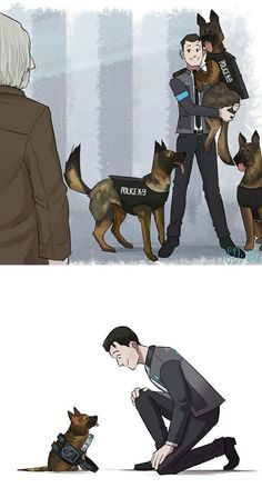 I like dogs. Connor meets the detroit unit (and their newest trainee) Detroit Being Human, Detroit Become Human Connor, Hiro Big Hero 6, Becoming Human, I Like Dogs, Anime Lindo, Human Art, Cute Comics, Luther