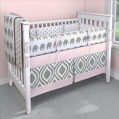 Pink Elephants Nursery Idea | Customizable Crib Bedding Set | Carousel Designs