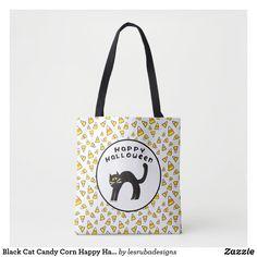 Black Cat Candy Corn Happy Halloween Tote Bag