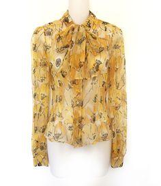 e7252787f3 Prada ivory & yellow flower poppy silk tie-neck scarf bow dress blouse 40