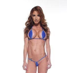89156acb1ea Bitsy's Bikinis Solid Electric Blue Mini Teardrop Extreme Micro G-String  Bikini 2pc Thong Minimal Co