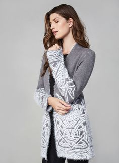 Eyelash Open Front Cardigan , Grey, hi-res