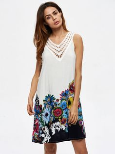 Sexy dresses cheap sexy women v-neck hollow out flowers printed sleeveless mini dresses #sexy #dresses #2017 #sexy #dresses #cheap #sexy #dresses #discount #code #sexy #dresses #online