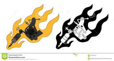 Classic Tattoo Machine In Flame. Color And Stock Vector - Image ...