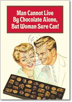 Vintage Candy Couple Live By Chocolate Alone Hilarious Picture Birthday Card Nobleworks