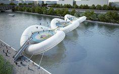 La struttura è composta da tre grossi moduli gonfiabili di 30 metri di diametro con al centro dei tappeti elastici