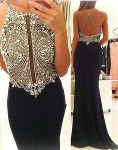 Sexy Black Evening Dresses 2017 Cheap Jewel Keyhold Neck Sparkle Crystal Beaded Long Custom Criss Cross Back Formal Prom Dress Party Gowns Navy Blue Prom Dresses, Black Evening Dresses, Pretty Dresses, Beautiful Dresses, Formal Dresses, Dresses 2016, Formal Prom, Evening Gowns, Long Dresses