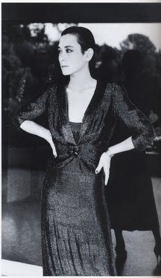 I was obsessed with Tina Chow in the 80s...Tina Chow in Schiaparelli 1938 ensemble and her white gold Cartier bangles