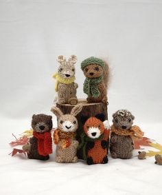 knitted woodland creatures - adorable! I want to make my own version of these for the girls!