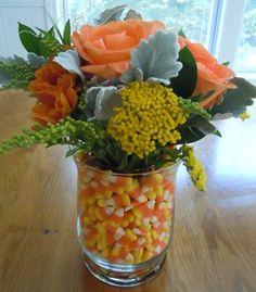 candy corn vase Halloween centerpiece