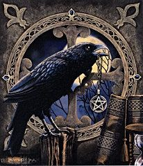 An unusual gothic greetings card by Lisa Parker featuring a raven perched on a tree stump holding a pentagram necklace in its mouth. Books can be seen in the foreground and the raven sits in front of a circular gothic window.