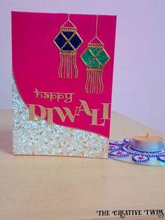 The creative twins : Diwali Greeting Card- Packing Tape Technique Diy Diwali Cards, Handmade Diwali Greeting Cards, Diwali Card Making, Diy Diwali Decorations, Diwali Diy, Diwali Craft, Handmade Greetings, Handmade Birthday Cards, Rakhi Cards