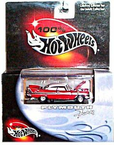 100% Hot Wheels - Limited Edition Cool Collectibles Series - Plymouth Fury (1957)(Red w/White Top) - Mounted in Display Case by Mattel, Inc.. $37.99. Multi-Piece Collector Quality Car - Limited Edition for the Adult Collector. 100% Hot Wheels - Cool Collectibles - (1957) Plymouth Fury. Comes Mounted in Display Case w/Open Hood- Features Moveable Parts and a Top-Quality Paint Job.. Highly Detailed, Multi-Piece 1:64 Scale Replica - Cutout in Hood for Engine. Red Body Color ...