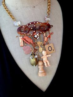 Vintage Charm Necklace Steampunk Necklace Toy by rebecca3030, $129.00