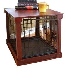 Merry Products Dog Crate with Wooden Cover combines the traditional wire crate with a wooden frame. Use as a side table, night stand or free standing and the wire crate still gives your pet visibility. Removable plastic crate tray and removable front panel make cleaning a breeze.