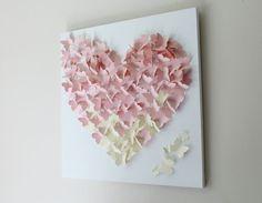 Blush Butterfly Wall Art 20 x 20 Blush Pink by ButterflyAndBaby