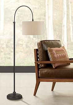 Forty West Reagan Oil Rubbed Bronze Adjustable Arc Floor Lamp Note: would look better with bohemian shade Bronze Floor Lamp, Arc Floor Lamps, Contemporary Floor Lamps, Modern Floor Lamps, Linen Lamp Shades, Swing Arm Wall Lamps, Home Modern, Adjustable Floor Lamp, Dimmable Light Bulbs