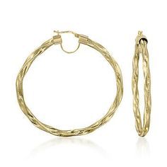 Italian Twisted Flex Hoop Earrings With 14kt Yellow Gold