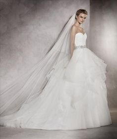 Albania | Bridal | Pronovias | Available at Lulu's Bridal Boutique | Lulu's Bridal | Dallas, Texas | Ball gown | A line | Ruffles | Tiered | Beaded belt | Sweetheart | Tulle |