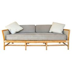 Upholstery idea for the vintage bamboo couch. The grey would go with my teal throw pillows and a marble-topped coffee table. Accents of brass and white. Bamboo Sofa, Bamboo Furniture, Rattan Sofa, Sofa Furniture, Furniture Design, Outdoor Furniture, Second Hand Sofas, Second Hand Furniture, Teal Throw Pillows