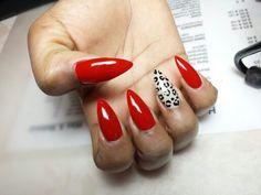 #stiletto #nails #red #leopard #nailart