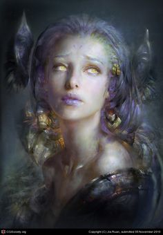 I like the colors used on the skin. It looks smooth, soft and translucent. I like the use of cool colors and the fact that the artist left it as a painting and didn't get into trying to do skin texture. Also I feel the emotion comes out in this peace