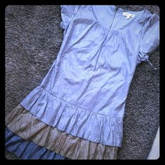 Small girlie mini dress Size small By MINE Never worn 3 tiered / ruffled hemline Pewter, GOLD, grey & silver colores Beautiful girlie and super chic mine Dresses