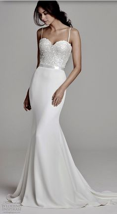Suzanne Neville 2019 sleeveless wedding dress with thin straps and a sweetheart embellished bodice. This beautiful sheath wedding dress (bronte) has an elegant chapel train. Wedding Dress Tea Length, Top Wedding Dresses, Wedding Dress Trends, Designer Wedding Dresses, Wedding Attire, Bridal Dresses, Wedding Gowns, Wedding Cakes, Wedding Venues