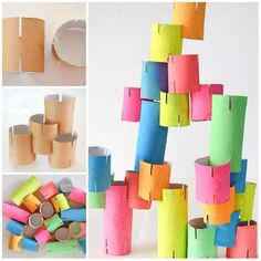 Construction activity with rolls of toilet paper. 15 Montessori Activities to Do at Home for Y. Kids Activities At Home, Preschool At Home, Montessori Activities, Kindergarten Activities, 3 Year Old Preschool, 3 Year Old Activities, Preschool Lesson Plans, Toilet Paper Crafts, Construction For Kids