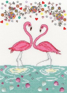 Love Flamingo(XKA9)   New cross stitch kit byBothy Threads, designed by Kim Anderson. A new addition to the popular 'Love' series of kits.  Contents: 14 count white aida, cotton and metallic threads, beads, sequins, satin flowers, hearts, chart, needle and full instructions.  Size: 18cm x 26cm  RRP £27.49  See more recent cross stitch designs by Bothy Threads