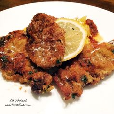 Elk (or Antelope) Schnitzel: Elk steaks dredged in flour, egg wash, fresh thyme & romano cheese breadcrumbs. Lightly fried with a squeeze of lemon. Serve with spaghetti squash and tomato sauce. Elk Meat Recipes, Wild Game Recipes, Venison Recipes, Fish Recipes, Venison Meals, Meat Meals, Seafood Recipes, Recipies, Trout Brine Recipe