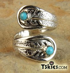 Sterling Silver Feathers Turquoise Ring by Robert Arviso Adjustable Jewelry sold here: https://tskies.com