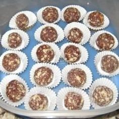 No bake chocolate cookie balls made from chocolate chips, vanilla wafers, pecans and rum.
